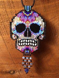 peyote beaded skull necklace