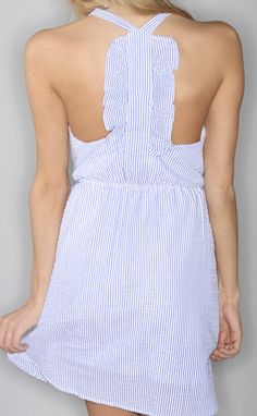 summer hamptons ruffle dress - blue --Get 15% off + Free Shipping on ShopRiffraff.com when you use code 'RiffraffRepLauren' at checkout!