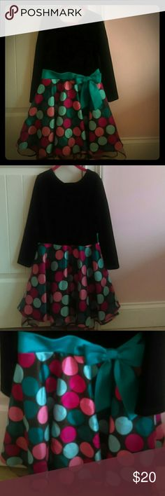 Party Dress for Kids Velvet top and polka dot skirt (both are attached). Comes together with a blue bow. Bonnie Jean Dresses Formal