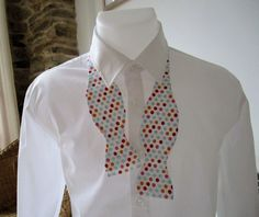 Mens Bowtie, Classic, Self-Tie.  White with Red, Pink, Orange and Blue Dots. Homemade by me. Ships Worldwide. by StrictlyBowTies on Etsy