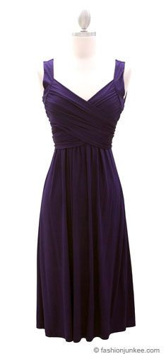 :As Seen In US WEEKLY: Crossover Fauxe Wrap Vintage Inspired Jersey Dress-Dark Blue Purple