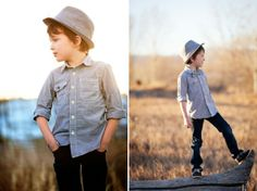 Stylish photo outfits for Boys on COUTURE colorado Baby | Sarah and Brad Photography | Children's Photographer Littleton Colorado | featuring Sperry Topsider Shoes, Gap Kids fedora, J.Crew Crewcuts chambray shirt, Tucker + Tate denim jeans.
