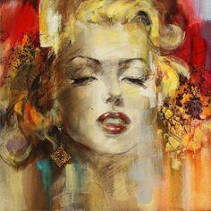 Marilyn Monroe painting by Anna Razumovskaya || View Marilyn Monroe art by K. Fairbanks on Pinterest or on Behance: http://www.behance.net/kfairbanks