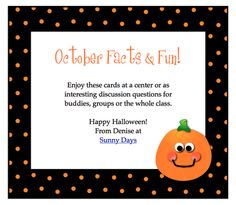 October Facts & Fun Task Cards  - Pinned by @PediaStaff – Please Visit ht.ly/63sNtfor all our pediatric therapy pins