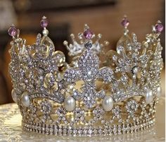 """Queen Josephine's Amethyst and Diamond Tiara"" (According to Cindi L. - This is a Rhinestone Pageant Tiara) Diamond Tiara, Bride Of Christ, Daughters Of The King, Sparkles Glitter, Tiaras And Crowns, Royal Tiaras, Crown Jewels, All That Glitters, Photo Instagram"
