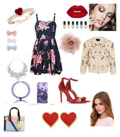 """""""Late Valentines Day Outfit That My Sister Made And She Is 5"""" by nena0700 ❤ liked on Polyvore featuring Ally Fashion, Schutz, Deborah Lippmann, Lulu*s, Lime Crime, Accessorize, Kurt Geiger, Needle & Thread and Decree"""