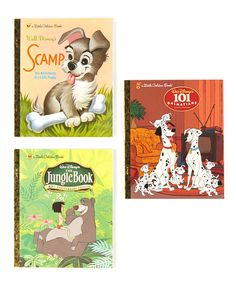 Jump into a few classics with this bundle of Little Golden Books. Filled with charming tales and beautiful illustrations, these familiar Disney stories will delight readers of every age.Includes 101 Dalmatians, Scamp and The Jungle Book101 Dalmatians: written by Justine KormanHardcover / 24 pa...
