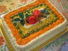 Decoração de torta salgada de pão de forma