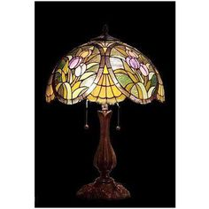 Tiffany style Stained glass Table Lamp by Stained Glass Table Lamps, Stained Glass Light, Tiffany Stained Glass, Tiffany Glass, Antique Lamps, Vintage Lamps, Lampe Art Deco, Lampe Retro, Bedroom Lamps