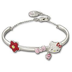 Hello Kitty for Swarovski. Future present for Quinn? Hello Kitty Jewelry, Hello Kitty Items, Sanrio, Baby Girl Toys, Miss Kitty, Hello Kitty Collection, Kawaii Cute, Bangles, Bracelets