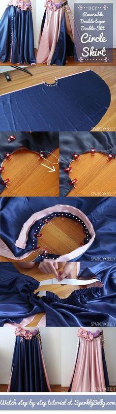 DIY circle skirt - reversible, double-layer, double-slit #DIYArtsandCrafts