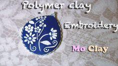 Polymer Clay embroidery and wire - Cabochon con paste sintetiche - Cabujón con arcillas polimericas