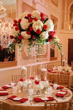 Regal with Red and Roses — Bustld — Planning Your Wedding Just Got Easier – dressempty Red And White Wedding Decorations, Red And White Weddings, Quince Decorations, Red Centerpieces, Quinceanera Centerpieces, Tall Wedding Centerpieces, Gold Wedding Theme, Wedding Turquoise, Geek Wedding