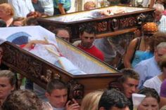 Fiesta de Santa Marta de Ribarteme, Las Nieves, Galicia, Spain- held July 29th, people come to pay their respects to the 'Saint of Death' giving thanks after surviving a close brush with death during the previous twelve months.