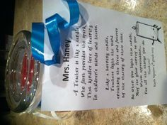 Poem attached to candle for Teacher gift.