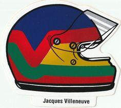 JACQUES VILLENEUVE HELMET DECAL ORIGINAL PERIOD STICKER ADESIVO AUFKLlEBER RARE Company Profile Design, Villeneuve, Racing Stickers, Motorcycle Helmets, Formula 1, F1, Race Cars, Decals, Tattoo