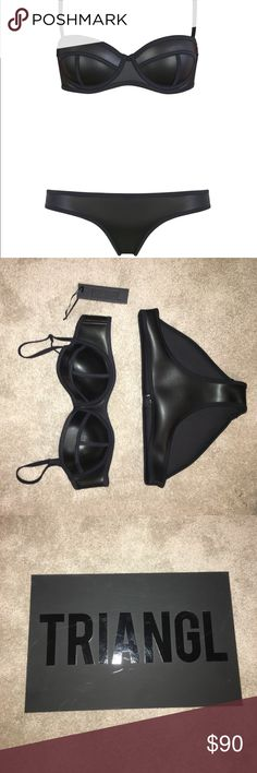 TRIANGL BLACK MATTE BIKINI NEVER BEEN WORN!!!!!! I bought this Bikini about a year ago when they were very in style and all the girls wanted one. I didn't know much about the triangl product sizing so I just did my best and guess on what would fit me. When it finally shipped to me I tried it on and realized that it was to small right away. (Even when I was at the smallest I've ever been). The bikini is in perfect shape, I've only tried it on before. I've never wore it to the beach or in…