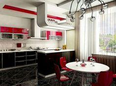 Cocina negro rojo y blanco