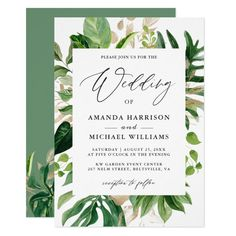 Greenery Tropical Palm Leaves Summer Wedding Invitation Retirement Party Invitations, Summer Wedding Invitations, Wedding Invitation Cards, Bridal Shower Invitations, Birthday Invitations, Invites, Invitation Ideas, Wedding Stationery, Luau Wedding