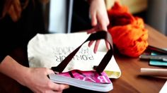 DIY Block Print Totebag. Customize a basic tote bag by carving a custom stamp and changing out the canvas straps for oxblood leather. Find t...