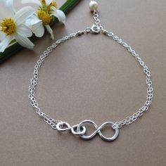 Double Infinity, Mother and Child Bracelet, Sterling Silver