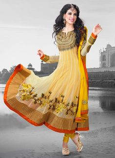 Elegent Yellow Color Net And Embroidred Anarkali Suit
