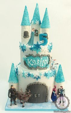 I was told the little girl loves frozen and wanted something very princessy :) I made this castle cake and she loved it!!!