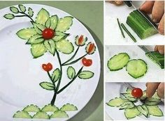 45 coole Party-Essen-Ideen und DIY-Essen-Dekorationen cool plate decoration idea with cucumbers as a creative party food idea Veggie Art, Fruit And Vegetable Carving, Veggie Plate, Veggie Food, Food Design, Cute Food, Good Food, Funny Food, Food Art