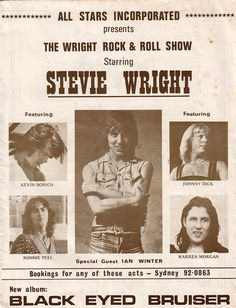 """STEVIE WRIGHT - 1975 Albert promo poster. His """"Black Eyed Bruiser"""" has best broken KINKS riff ever! After EASYBEATS split the VANDA-YOUNG partnership got a contract writing &  recording in their home studio for MIKI DALLON - YOUNGBLOOD Records in '69-71 w/ the oldest YOUNG Brother from GRAPEFRUIT! Back to Australia by '72 & built the ALBERT Empire w/ JOHN PAUL YOUNG, Billy Shake, Marcus Hook Roll Band (w/ANGUS!) & helped re-establish STEVIE WRIGHT! His LP has MHRB meets AC/DC production.."""