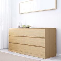 MALM white stained oak veneer, Chest of 6 drawers, cm - IKEA Oak Bedroom, White Stain, Ikea Malm, 6 Drawer Dresser, Wide Chest Of Drawers, Light Wood Dresser, Ikea, Flat Pack Furniture, Ikea Bedroom Design