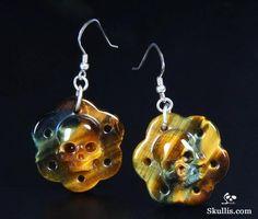 Skull Earrings, Drop Earrings, Tiger Eye Jewelry, Blue Tigers Eye, Crystal Skull, Crown Chakra, Willpower, Malachite, Plexus Products