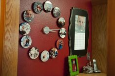 Twelve-photo Clock - Reminds me of Badge-a-minit magnets.