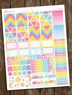 Who doesn't love rainbows? With this weekly kit, you'll have all the stickers you need to create an amazing spread.Just purchase these professionally designed p Printable Planner Stickers, Diy Stickers, Printables, Erin Condren Life Planner, Weekly Planner, Planner Ideas, Freebies, Love Rainbow, Planner Organization
