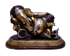 Buy Indian Religious Two Tone God Ganesha Idol Resting on a Pillow Brass Sculpture Statue 4 Online - Brass Statues & Collectibles Kali Statue, Saraswati Statue, Lord Shiva Statue, Krishna Statue, Brass Statues, Indian Crafts, Goddess Lakshmi, Lord Ganesha, Indian Gods