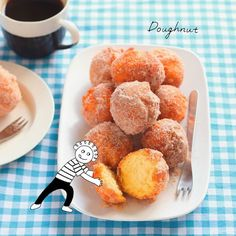 #6コマお菓子レシピ の中でも気に入っているころころドーナツ レシピ本の挿絵を描いてくださったkaoriさん@_kaoriillustration_ に写真にお絵描きしてもらいました かわゆい