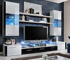 Concept Muebles Fresh Modern Wall Unit/Entertainment Centre/Spacious and Elegant Furniture/Tv Cabinets/Tv Stand for Modern Living Room/High Capacity Living Room Furniture (White) Modern Tv Cabinet, Modern Tv Wall Units, Modern Wall, Modern Living, Modern Cabinets, Modern Room, Living Room Wall Units, Living Room Furniture, Living Room Designs