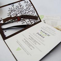 Brown Tree Laser Cutting Wedding Invitations