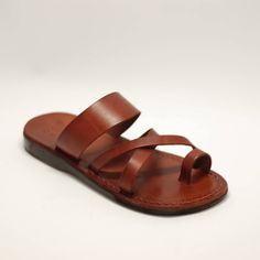 Brown leather sandal handmade sandals brown sandals for men Camel Sandals, Toe Ring Sandals, Brown Leather Sandals, Brown Sandals, Toe Rings, Jesus Sandals, Leather Slippers, Greek Sandals, Cowhide Leather