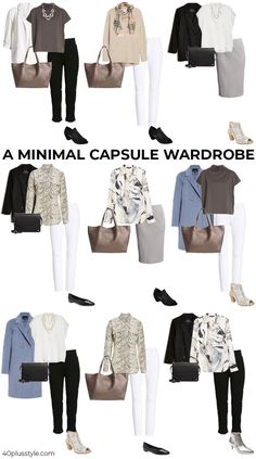 How a minimal wardrobe need not be boring - look better with less Work Wardrobe Essentials, Minimalist Wardrobe Essentials, Minimal Wardrobe, Simple Wardrobe, Fall Capsule Wardrobe, Over 60 Fashion, Mature Fashion, Work Fashion, Fashion Ideas