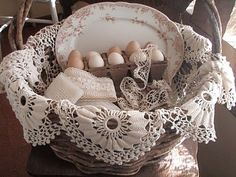 eggs & basket with doilies