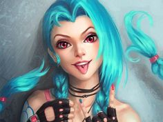 Jinx Beautiful Girl Tongue Out League of Legends High Resolution 1920×1440
