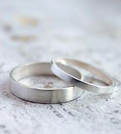Silver Wedding Band Set