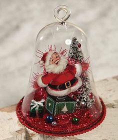 Retro Santa Under Cloche Bethany Lowe