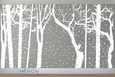 Hey, I found this really awesome Etsy listing at https://www.etsy.com/listing/216427205/large-winter-birch-forest-wall-decal