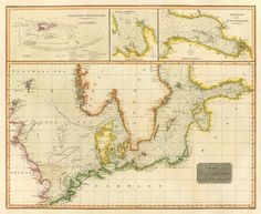 Baltic Sea old map, 1816.