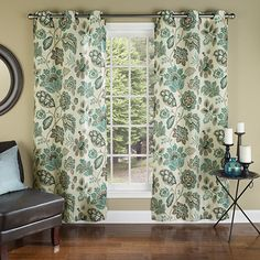 Bring natural appeal to your dining room or master suite with this chic curtain, showcasing an artful floral motif in bronze and teal.