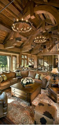I Love Unique Home Architecture. Simply stunning architecture engineering full of charisma nature love. The works of architecture shows the harmony within. Style At Home, Future House, Casas Country, Log Cabin Homes, Log Cabins, Log Cabin Kitchens, Rustic Kitchens, Barn Homes, Family Room Design
