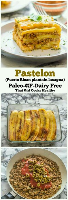 Pastelon (Puerto Rican plantain lasagna) That Girl Cooks Healthy : Pastelon Puerto Rican sweet plantain lasagna that paleo, gluten free and dairy free dairyfreerecipes puertoricanfood dinnerrecipes paleodiet glutenfreerecipes Pastelon (Puerto Rican Dairy Free Recipes, Paleo Recipes, Mexican Food Recipes, Dinner Recipes, Cooking Recipes, Gluten Free, Cooking Tips, Cooking Lamb, Cooking Quotes