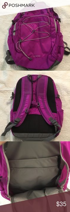 NWOT Lands End Magenta Large Backpack. New Lands End Backpack. I bought this for my 10th grader,but she decided she wanted a messenger bag instead. Both of my kids (8th & 10th grade) have used this exact style of Backpack for the past several years and love it. It holds a plethora of books and supplies. They also hold up well in the washing machine. Lands End is quality all the way! Lands End Accessories Bags