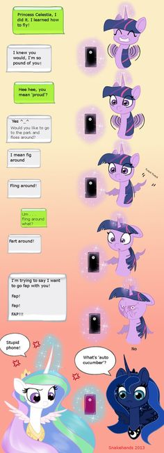 MLP Twilight and Celestia auto-correct comic by snakehands.deviantart.com on @deviantART
